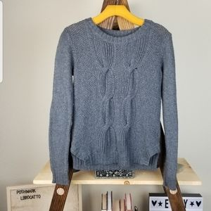 Gray Chunky Cable Knit Crop Sweater Elbow Patches